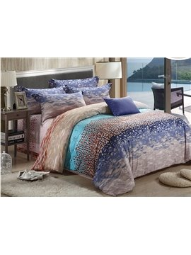 Seaside Scenery Print 4-Piece Tencel Duvet Cover Sets