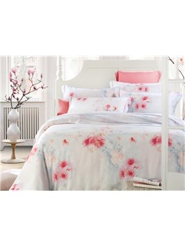 Red Plum Flower Print 4-Piece Tencel Duvet Cover Sets