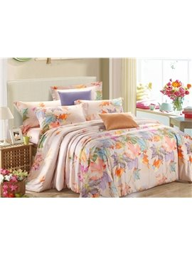 Colorful Falling Leaves Print 4-Piece Tencel Duvet Cover Sets