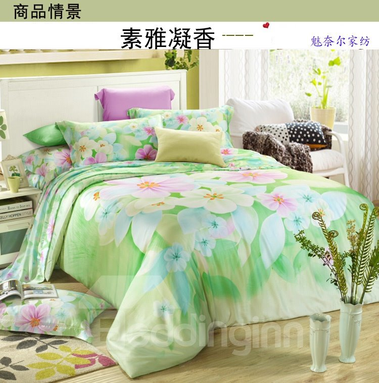 Fresh Green Flower Print 4-Piece Tencel Duvet Cover Sets