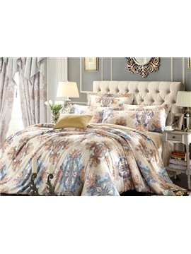 Luxury Paisley Flower Print 4-Piece Tencel Duvet Cover Sets