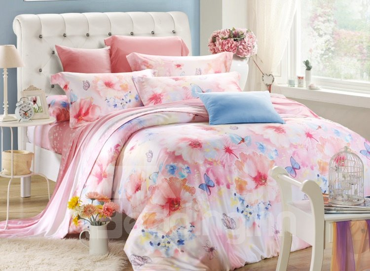 Flower and Butterfly Print 4-Piece Tencel Duvet Cover Sets