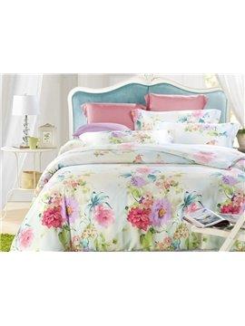 Elegant Flower 4-Piece Tencel Duvet Cover Sets