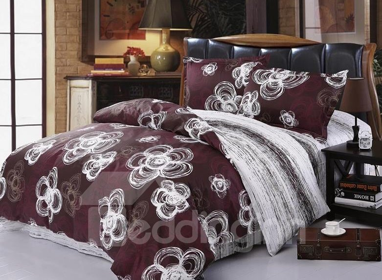 White Plum Blossom Drawing 4-Piece Cotton Duvet Cover Sets