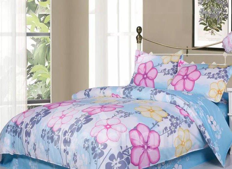 Pink Flower 4-Piece Cotton Duvet Cover Sets