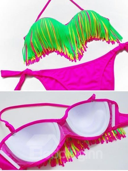 Sexy Tassel Skirt And Bust Contra Color Bikini