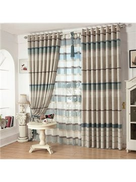 High Class Eco-fine Linen Living Room Bedroom Grommet Top Curtain