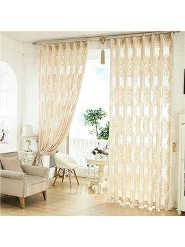 European Style Classic Flocking Custom Sheer Curtain