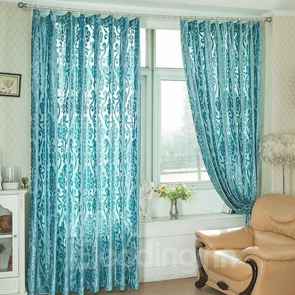 European Style Classic Flocking Custom Sheer Curtain