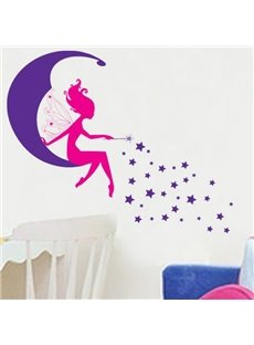 Fantastic Wonderful Moon Spirit and Stars Wall Sticker