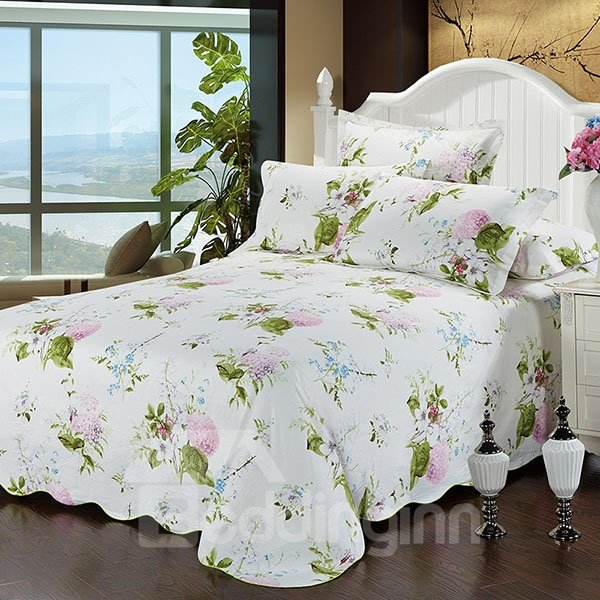 White Ground with Pink Flowers and Green Leaves Cotton Printed Sheet