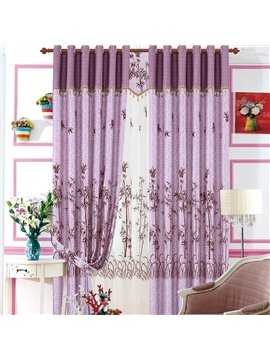 Elegant Purple Color Tree Pattern Flocking Grommet Top Curtain
