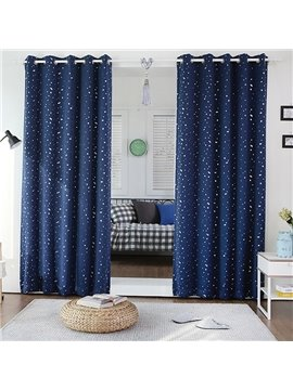 Stylish Navy Color Cute Stars Printing Grommet Top Curtain