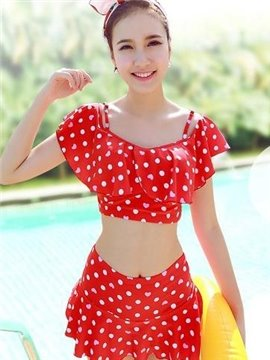 Classic Cute Dots 2 Pieces Red Skirt Bikini