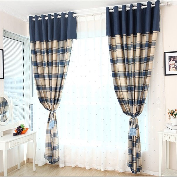 Linen Blue and White Plaid Grommet Top Curtain