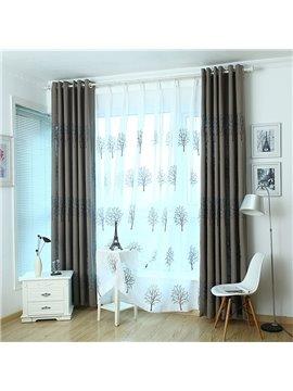 Elegant Embroidery Tree Pattern Custom Sheer Curtain