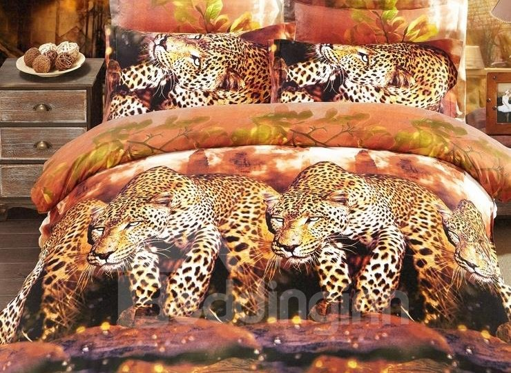 Strong and Smart Leopard Print 4-Piece Polyester 3D Duvet Cover Sets