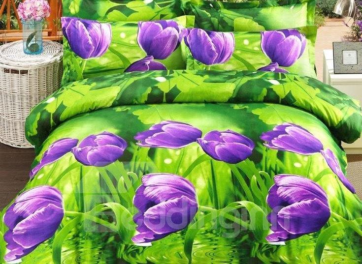 Purple Tulip Print 4-Piece Polyester 3D Duvet Cover Sets