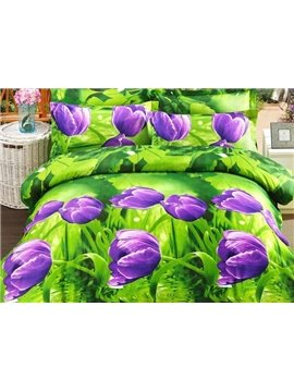 Purple Tulip Print 4-Piece Polyester 3D Duvet Cover Sets