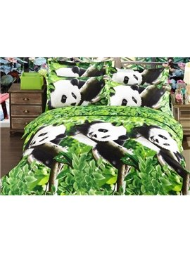 Panda and Tree Print 4-Piece Polyester 3D Duvet Cover Sets