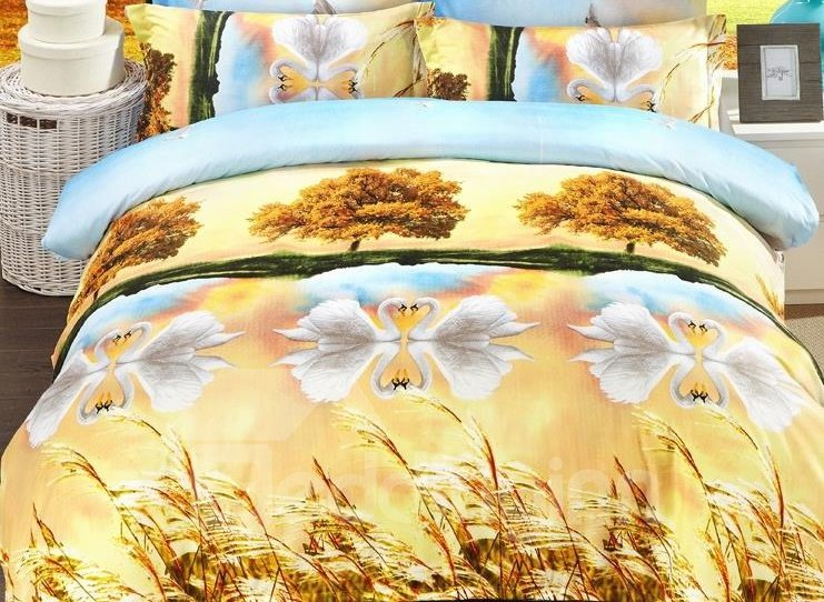Swan Lake Print 4-Piece Polyester 3D Duvet Cover Sets