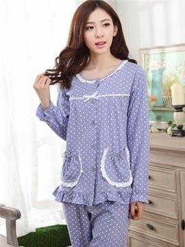 Lavender Cotton 2 Pieces Long Sleeves Sweet Lace Pajamas