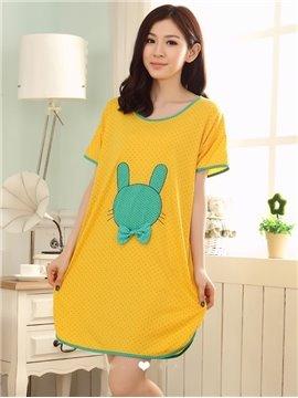 Cotton Contra Edge Round Neck Yellow  Sleepshirt
