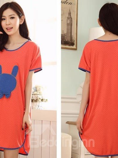 Cotton Contra Edge Round Neck Open Sides  Sleepshirt