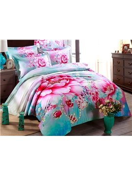 Noble Crown and Flower 4-Piece Cotton Duvet Cover Sets
