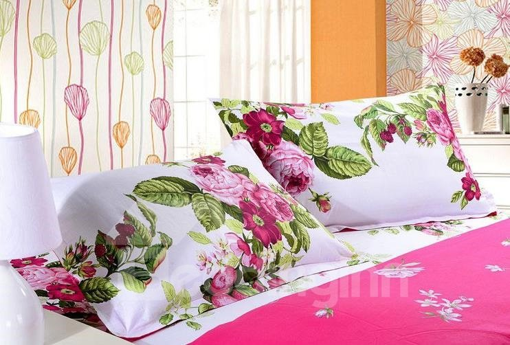 Graceful Floral Print 4-Piece Cotton Duvet Cover Sets