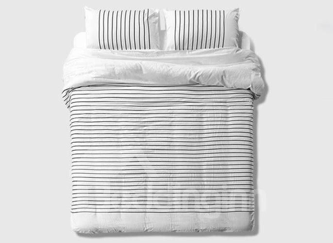Minimalist Black Stripe 4-Piece Combed Cotton Duvet Cover Sets