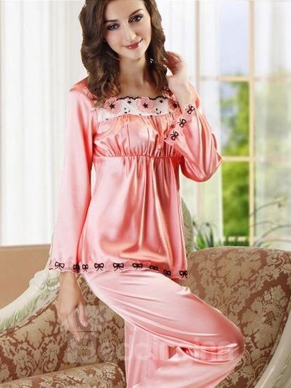 Sweet Pink Lace Square Neck Baby Doll Bust Pajamas