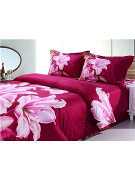 Charming Fragrant Lily 4-Piece Cotton Duvet Cover Sets