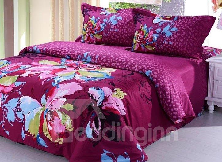 Crimson Flower Drawing Print 4-Piece Cotton Duvet Cover Sets