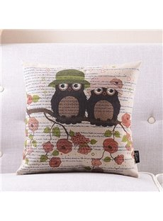 New Arrival Mr. Owl Falls in Love with Mrs. Owl Printed Throw Pillow