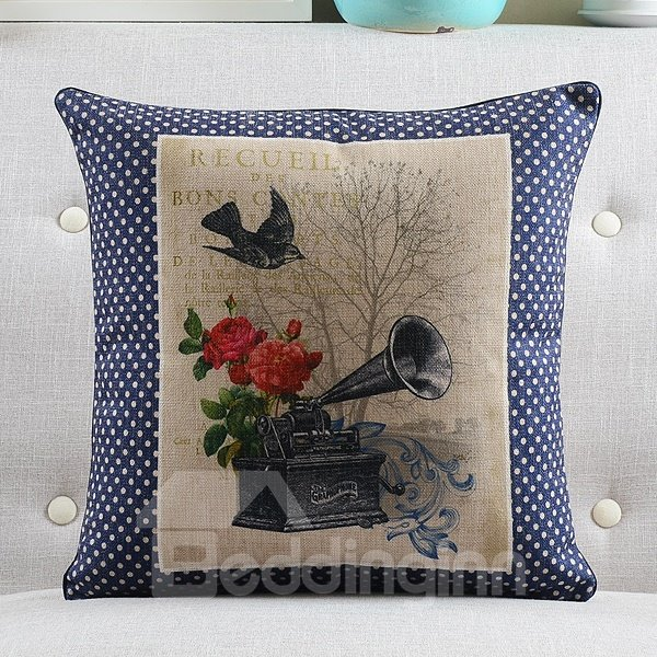 Vintage Style Throw Pillows : New Arrival Gramophone Printed Retro Style Throw Pillow - beddinginn.com