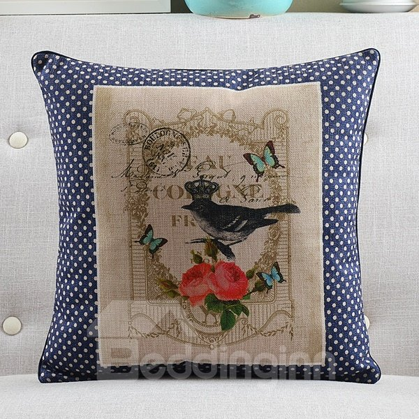 New Arrival Bird Queen and Flowers Printed Countryside Style Throw Pillow