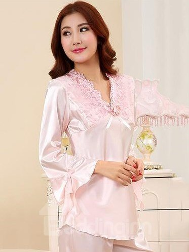 Pink Roses Embroidery Neck Flutter Sleeves Artificial Silk Pajamas
