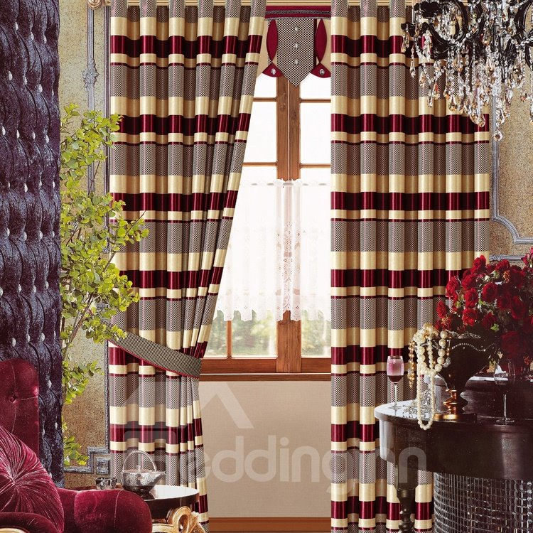 Chic Red Stripes High Shading Degree Grommet Top Curtain