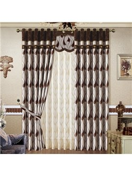 Stylish Waves Pattern Jacquard Grommet Top Curtain