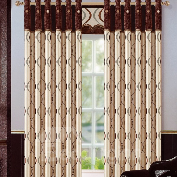 Fashion Style Waves Pattern Jacquard Grommet Top Curtain