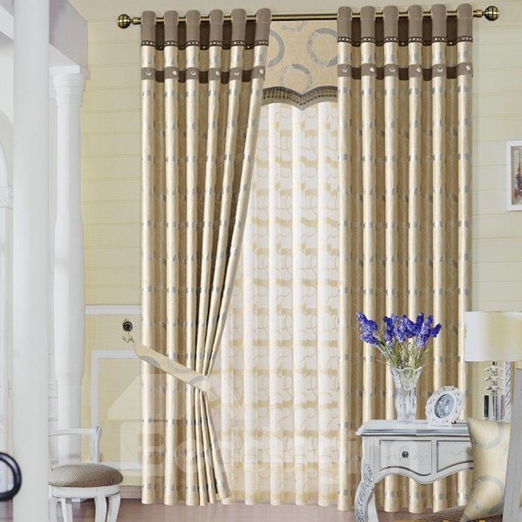 Elegant Yellow Duplex Circle Printing Grommet Top Curtain