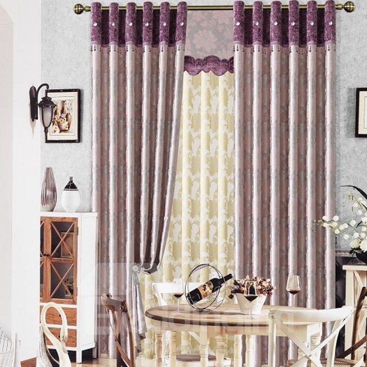 Contemporary Duplex Big Floral Printing Grommet Top Curtain