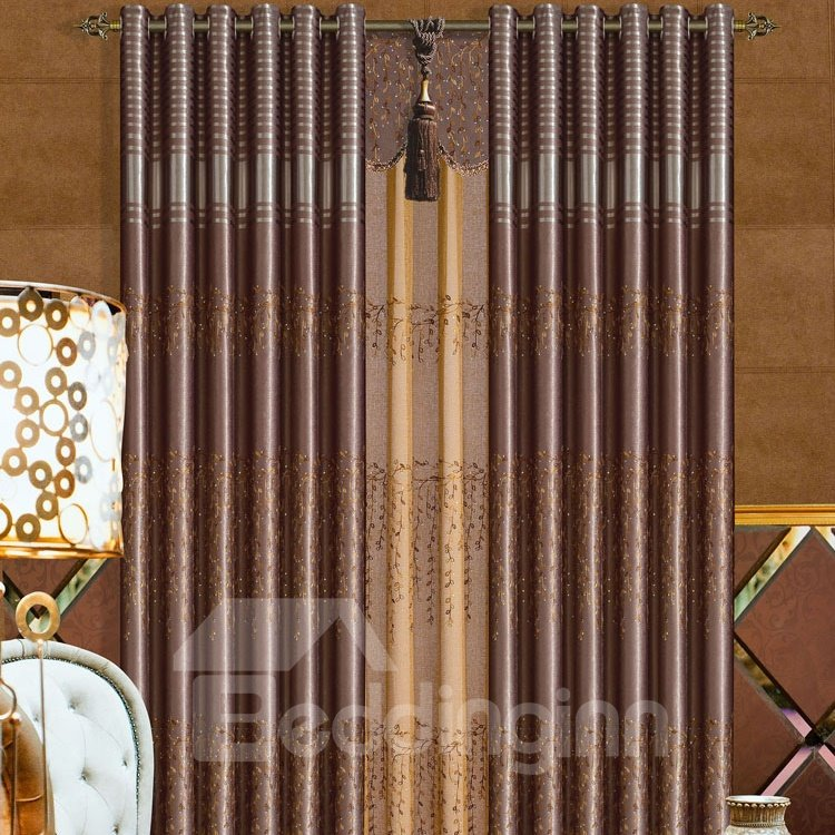 Contemporary Luxury Coffee Color Polyester Grommet Top Curtain