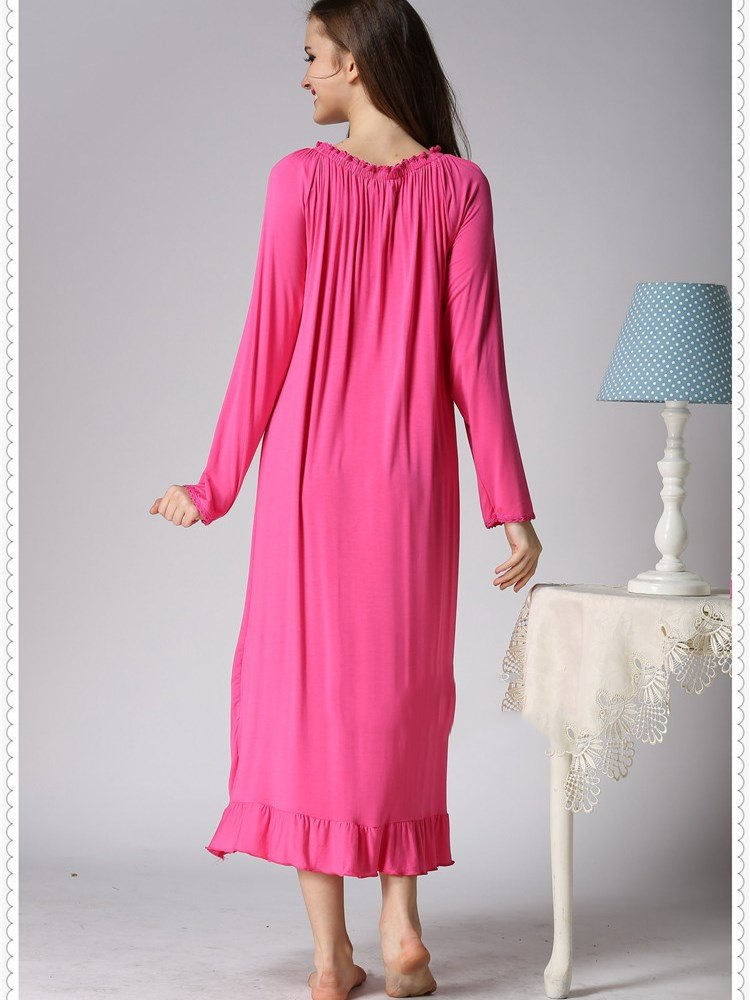Beautiful Loose Fit Stretching Neck Ankle Hit Cotton Nightgown
