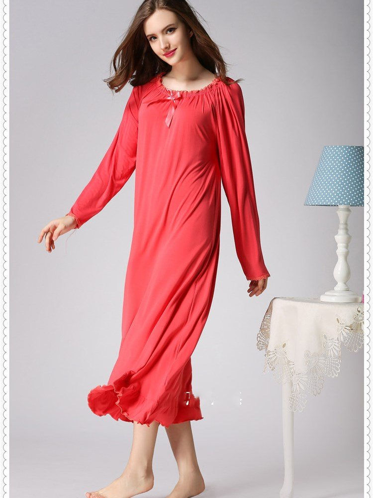 Red Loose Fit Stretching Neck Long Cotton Nightgown