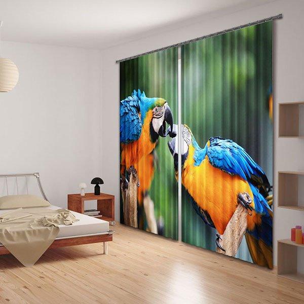Lifelike Parrots on Tree Branch Print 3D Curtain