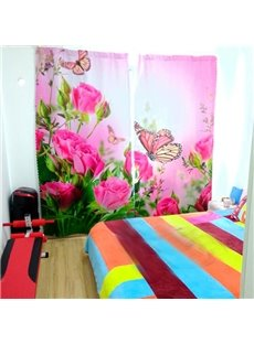 Adorable Pink Roses and Butterflies Printed 3D Curtain