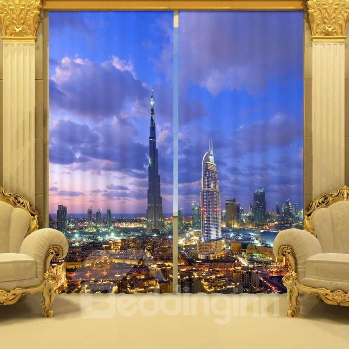 Vivid 3D Tower Blue Sky Pattern Blackout Curtain