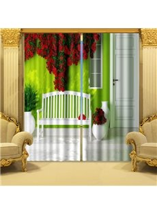 Vivid 3D Romantic Piled Red Roses Blackout Curtain